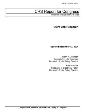 Primary view of object titled 'Stem Cell Research'.