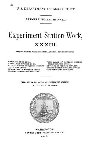 Primary view of object titled 'Experiment Station Work, [Volume] 33'.
