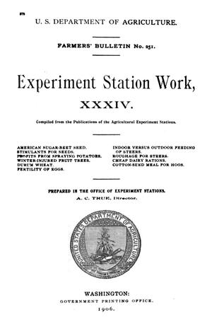 Primary view of object titled 'Experiment Station Work, [Volume] 34'.