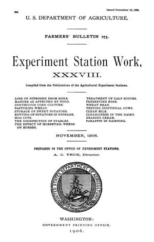 Primary view of object titled 'Experiment Station Work, [Volume] 38'.