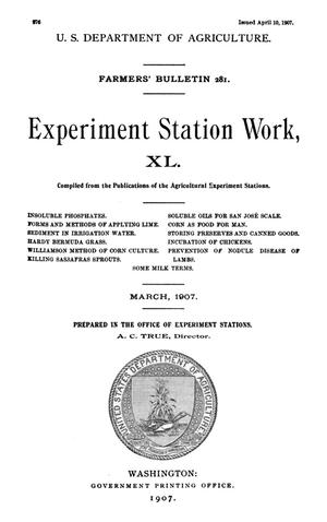 Primary view of object titled 'Experiment Station Work, [Volume] 40'.