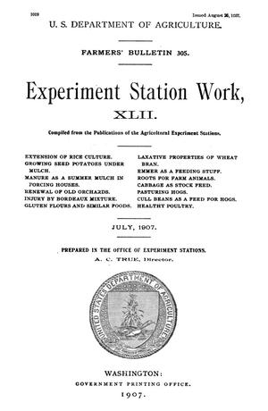 Primary view of object titled 'Experiment Station Work, [Volume] 42'.