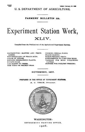 Primary view of object titled 'Experiment Station Work, [Volume] 44'.