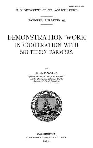 Primary view of object titled 'Demonstration Work in Cooperation with Southern Farmers'.