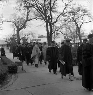 Primary view of object titled '[Students and faculty prior to Commencement Ceremony]'.