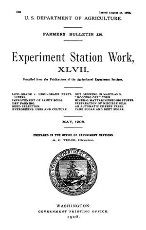 Primary view of object titled 'Experiment Station Work, [Volume] 47'.