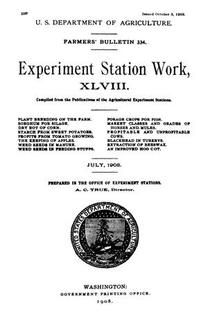 Primary view of object titled 'Experiment Station Work, [Volume] 48'.