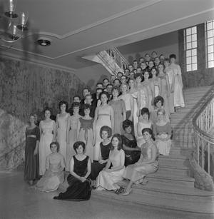 Primary view of object titled '[A Cappella choir group photo on staircase]'.