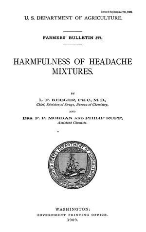 Primary view of object titled 'Harmfulness of Headache Mixtures'.