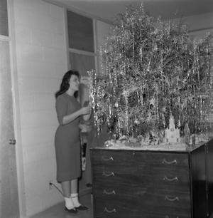 Primary view of object titled '[Girls decorating Christmas tree in quad 3]'.