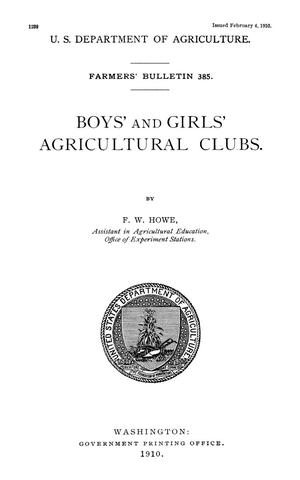 Primary view of object titled 'Boys' and Girls' Agricultural Clubs'.
