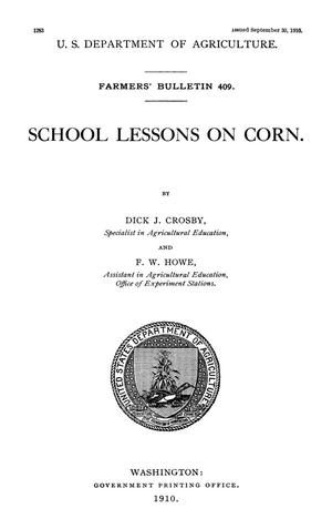 Primary view of object titled 'School Lessons on Corn'.