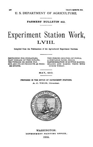 Primary view of object titled 'Experiment Station Work, [Volume] 58'.