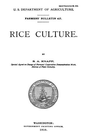 Primary view of object titled 'Rice Culture'.