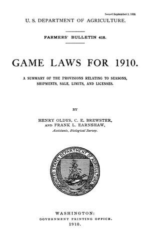 Primary view of object titled 'Game Laws for 1910'.