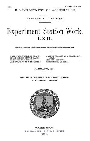 Primary view of object titled 'Experiment Station Work, [Volume] 62'.
