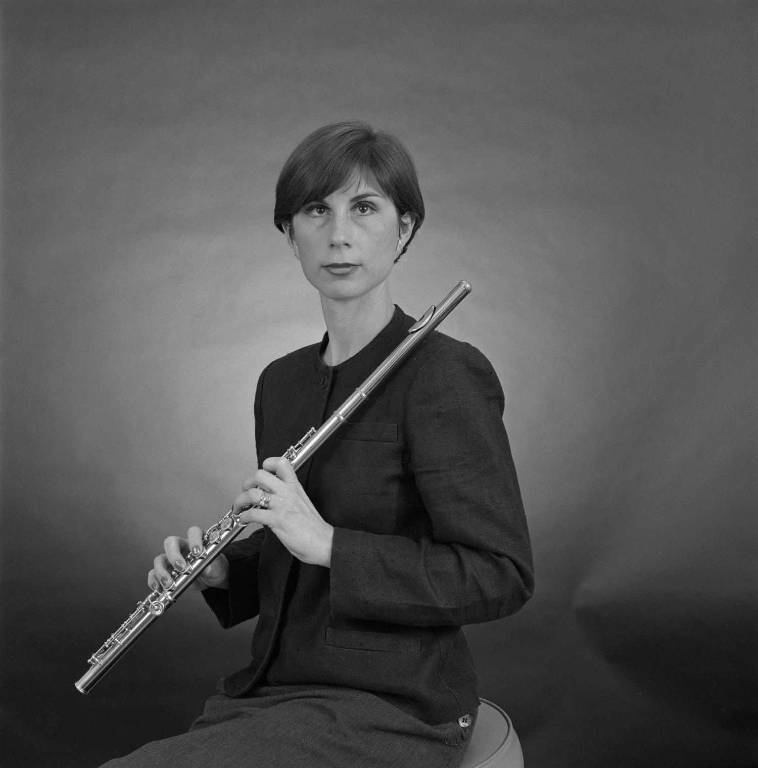 [Portrait of Mary Karen Clardy holding a flute]                                                                                                      [Sequence #]: 1 of 1
