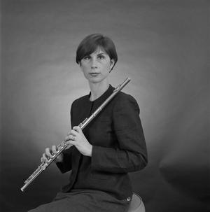 Primary view of object titled '[Portrait of Mary Karen Clardy holding a flute]'.