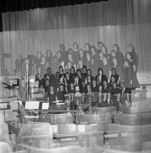 Primary view of object titled '[Choralettes group picture on stage]'.