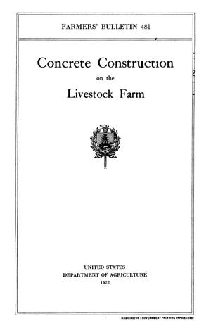 Primary view of object titled 'Concrete Construction on the Livestock Farm'.