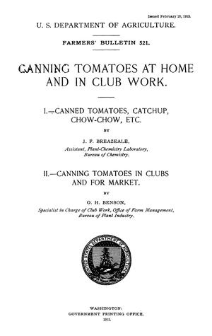 Primary view of object titled 'Canning Tomatoes at Home and in Club Work'.