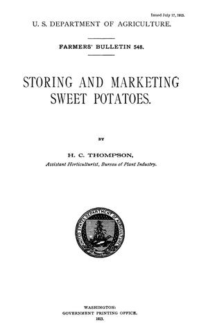 Primary view of object titled 'Storing and Marketing Sweet Potatoes'.