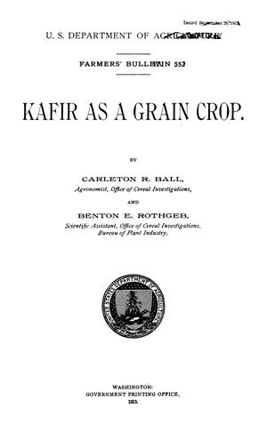 Primary view of object titled 'Kafir as a Grain Crop'.