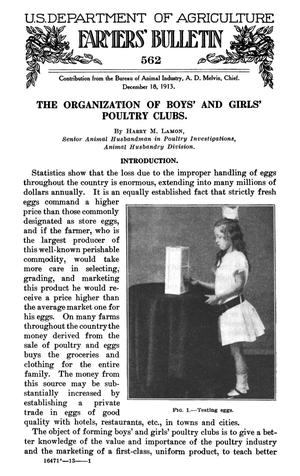 Primary view of object titled 'The Organization of Boys' and Girls' Poultry Clubs'.