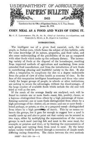 Primary view of object titled 'Corn Meal as a Food and Ways of Using It'.