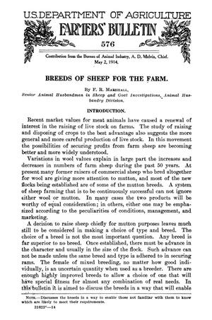 Primary view of object titled 'Breeds of Sheep for the Farm'.