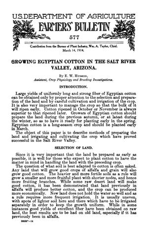 Primary view of object titled 'Growing Egyptian Cotton in the Salt River Valley, Arizona'.