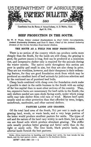 Primary view of object titled 'Beef Production in the South'.