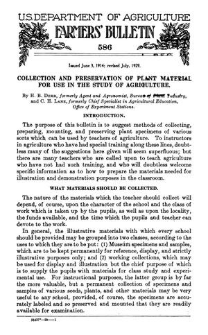 Primary view of object titled 'Collection and Preservation of Plant Material for Use in the Study of Agriculture'.