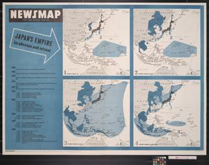 Primary view of object titled 'Newsmap for the Armed Forces : Japan's empire, its advance and retreat'.