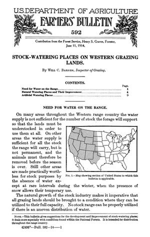 Primary view of object titled 'Stock-Watering Places on Western Grazing Lands'.