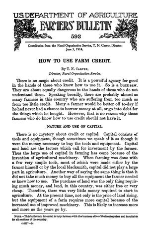 Primary view of object titled 'How to Use Farm Credit'.