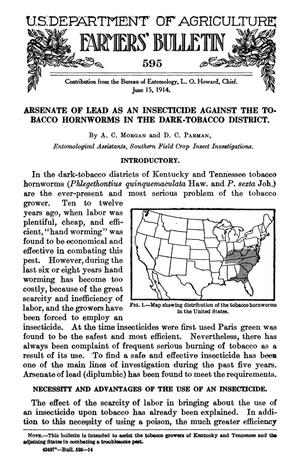 Primary view of Arsenate of Lead as an Insecticide Against the Tobacco Hornworms in the Dark-Tobacco District