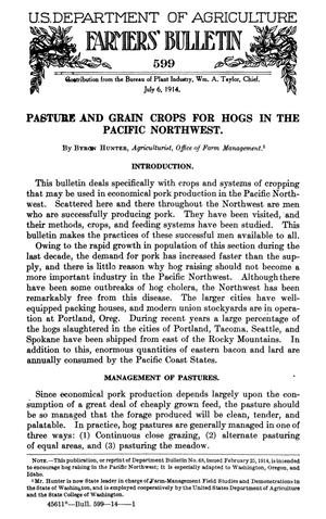 Primary view of object titled 'Pasture and Grain Crops for Hogs in the Pacific Northwest'.