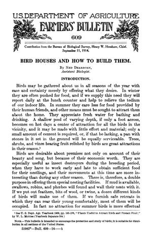 Primary view of object titled 'Bird Houses and How to Build Them'.