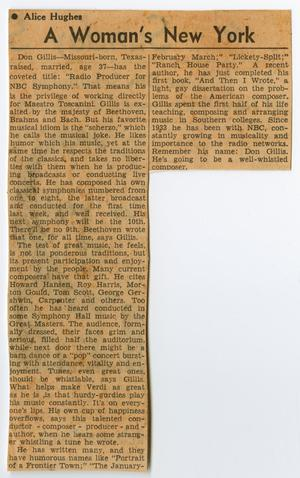Primary view of object titled '[Clipping: Article by Alice Hughes about Don Gillis]'.