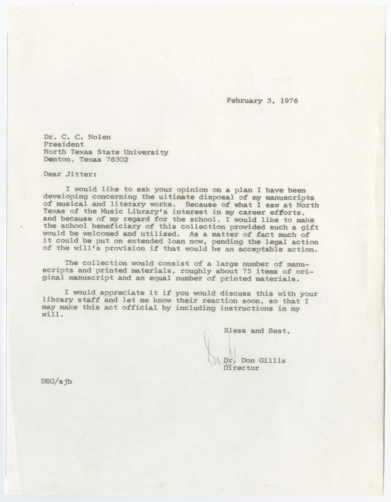 [Letter from Don Gillis to NTSU President C.C. Nolen - 1976-02-03]                                                                                                      [Sequence #]: 1 of 2