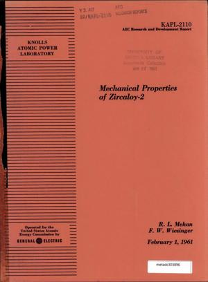 Primary view of object titled 'Mechanical Properties of Zircaloy-2'.