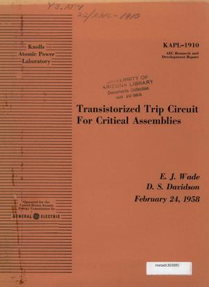 Primary view of object titled 'Transistorized Trip Circuit for Critical Assemblies'.