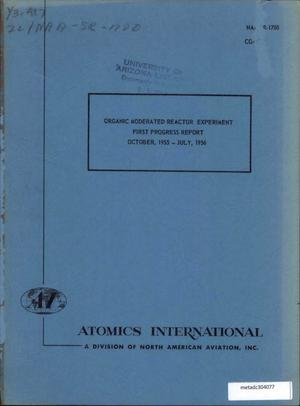 Primary view of object titled 'Organic Moderated Reactor Experiment Progress Report: October 1955-July 1956'.