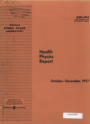 Primary view of object titled 'Health Physics Report: October-December 1957'.