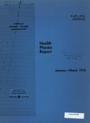 Primary view of object titled 'Health Physics Report: January-March 1958'.