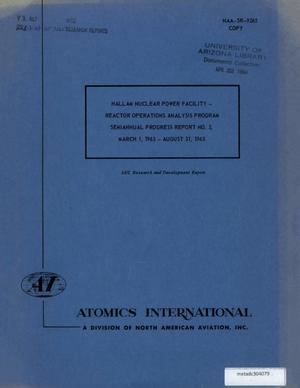 Primary view of object titled 'Hallam Nuclear Power Facility, Reactor Operations Analysis Program: Semiannual Progress Report Number 2, March-August 1963'.