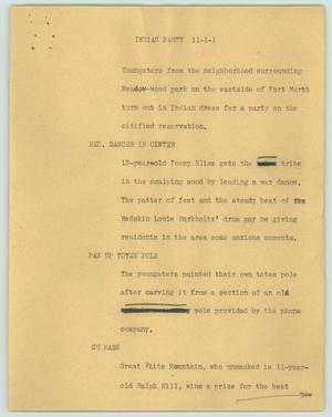 Primary view of object titled '[News Script: Indian party]'.
