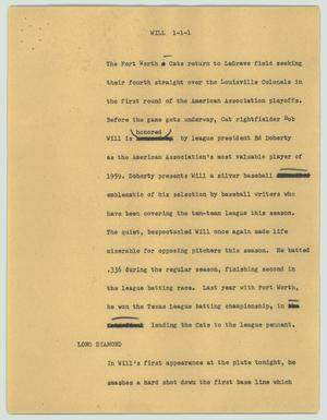 Primary view of object titled '[News Script: Will]'.