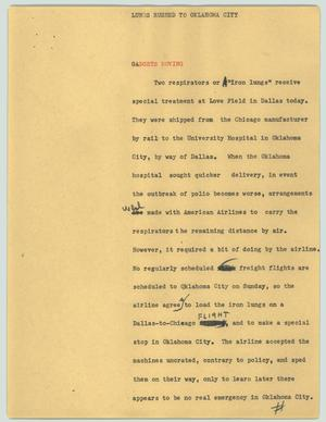 Primary view of object titled '[News Script: Lungs rushed to Oklahoma city]'.
